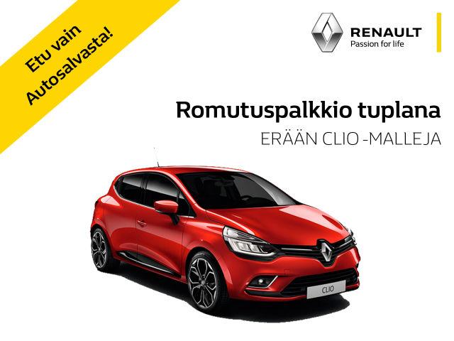 Erään Renault Clio -malleja: romutuspalkkio tuplana