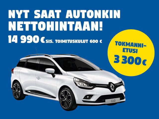 Nyt Renault Clio Tokmannin nettohintaan!