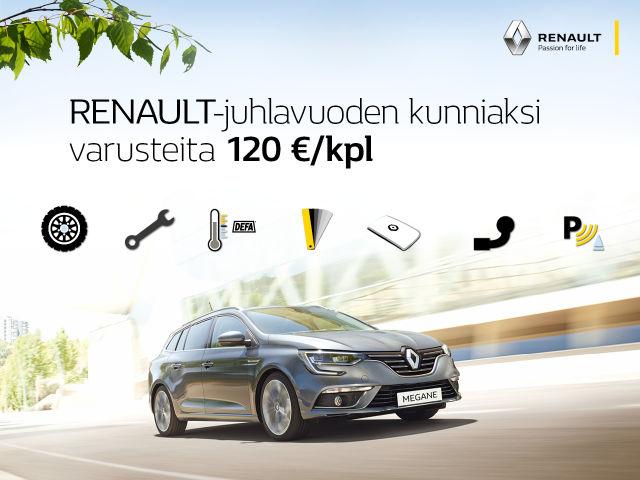Renault-juhlavuoden etuna lisävarusteita nyt 120 € / kpl!