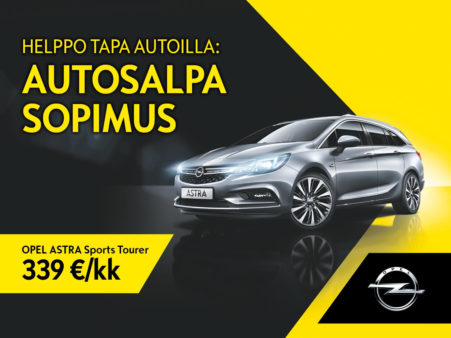 Helppo tapa autoilla. Opel Astra Autosalpa Sopimuksella