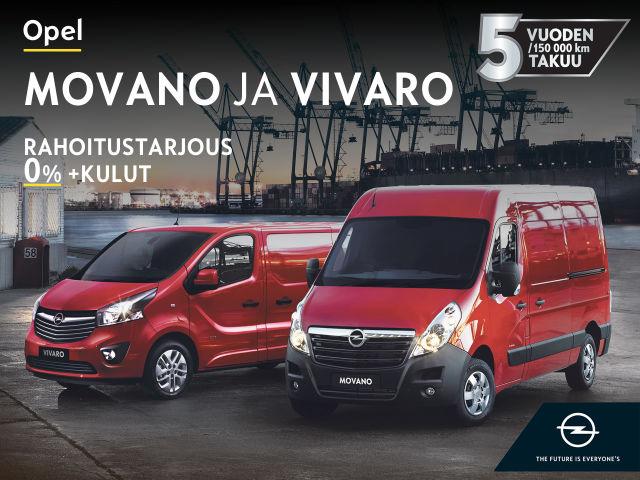 Opel Movano ja Vivaro -tavara-autot Autosalvasta!