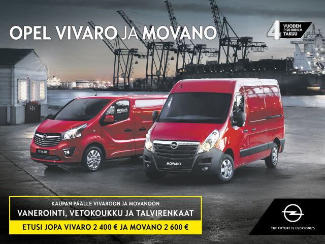 Opel Vivaro ja Movano: kaupan päälle vanerointi, vetokoukku ja talvirenkaat