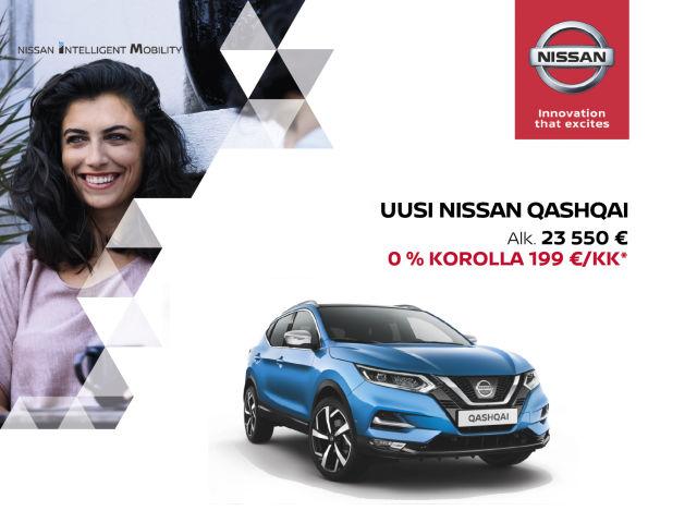 Nissan Qashqai 0 % -rahoituksella, ei muita kuluja!