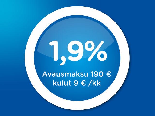 Rahoitus uusiin autoihin 1,9 % + kulut
