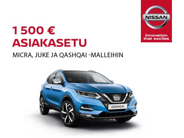 1500 € asiakasetu Nissan-malleihin