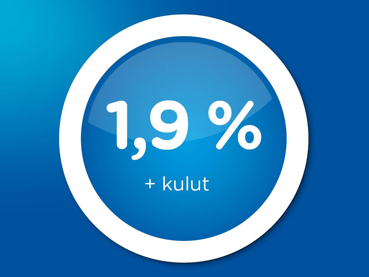 Rahoitus kaikkiin autoihin 1,9 % + kulut