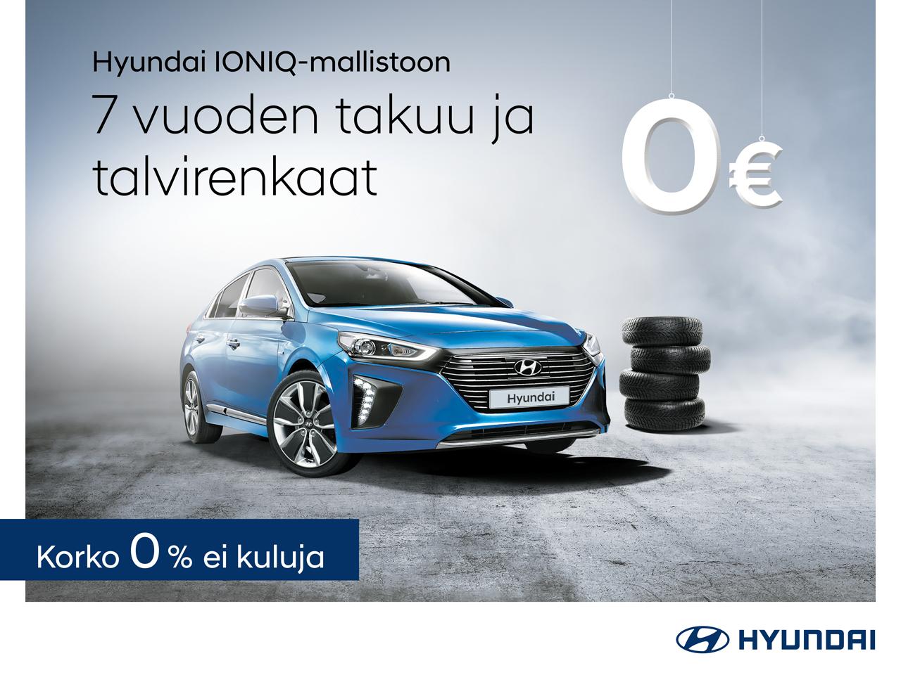 Talvirenkaat veloituksetta Hyundai IONIQ:iin sekä 0 % rahoituskorko