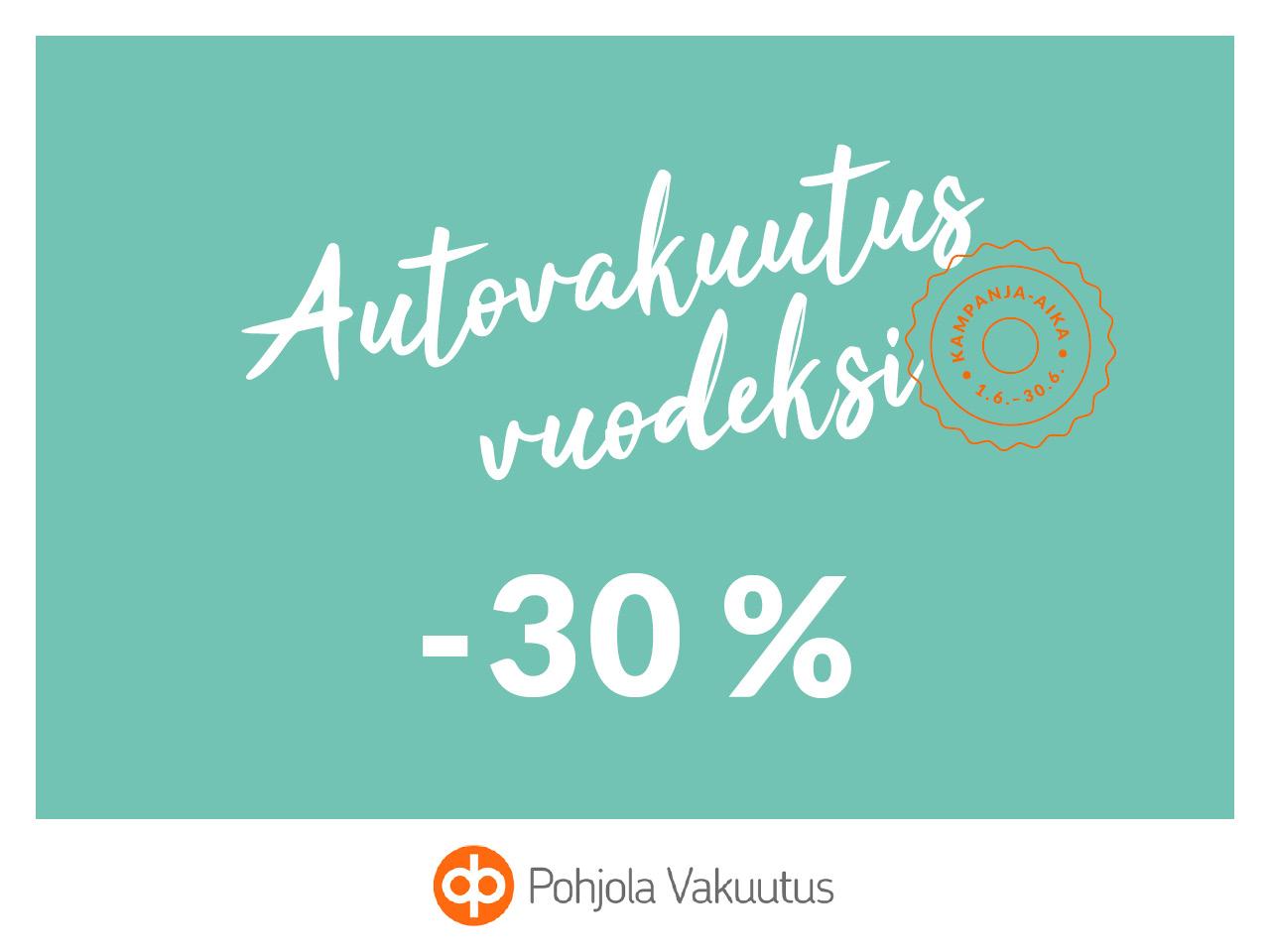 Autovakuutus vuodeksi nyt -30 %