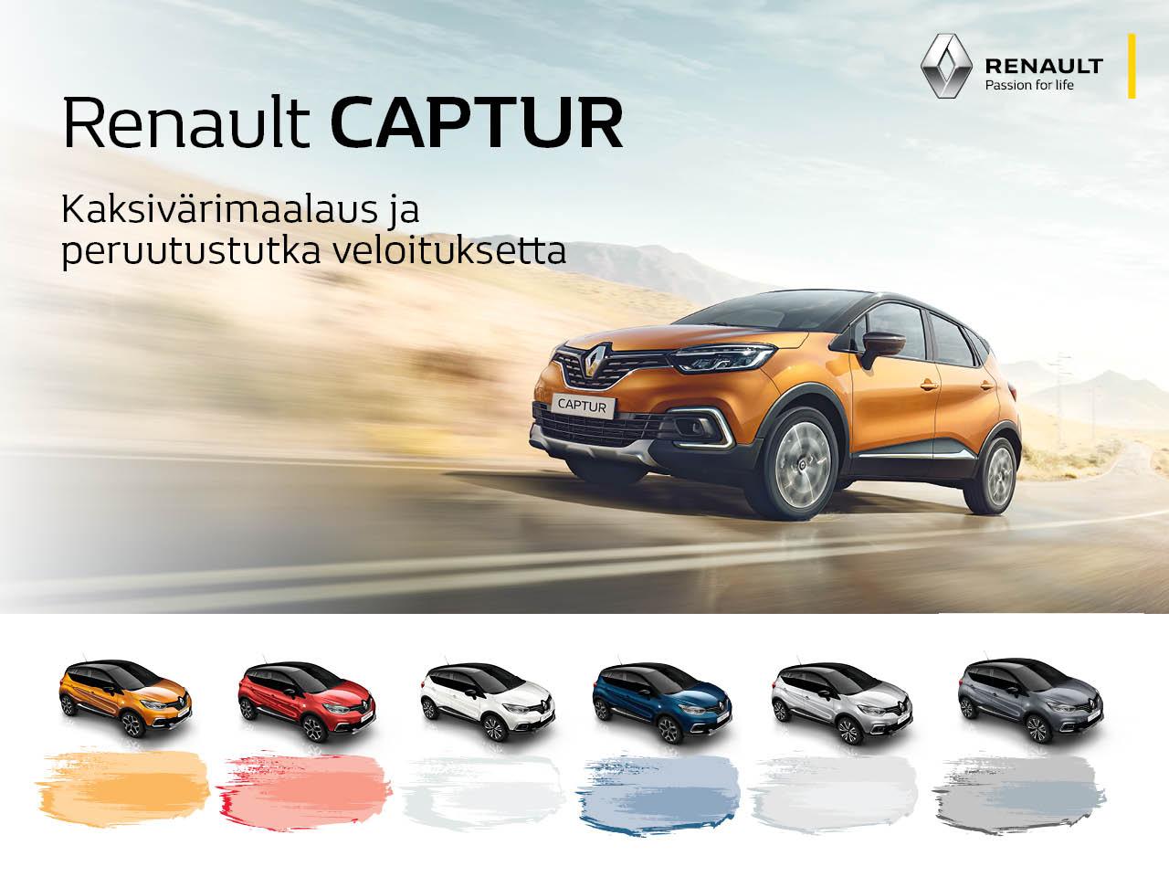 Kaksivärimaalaus ja peruutustutka veloituksetta Renault Capturiin