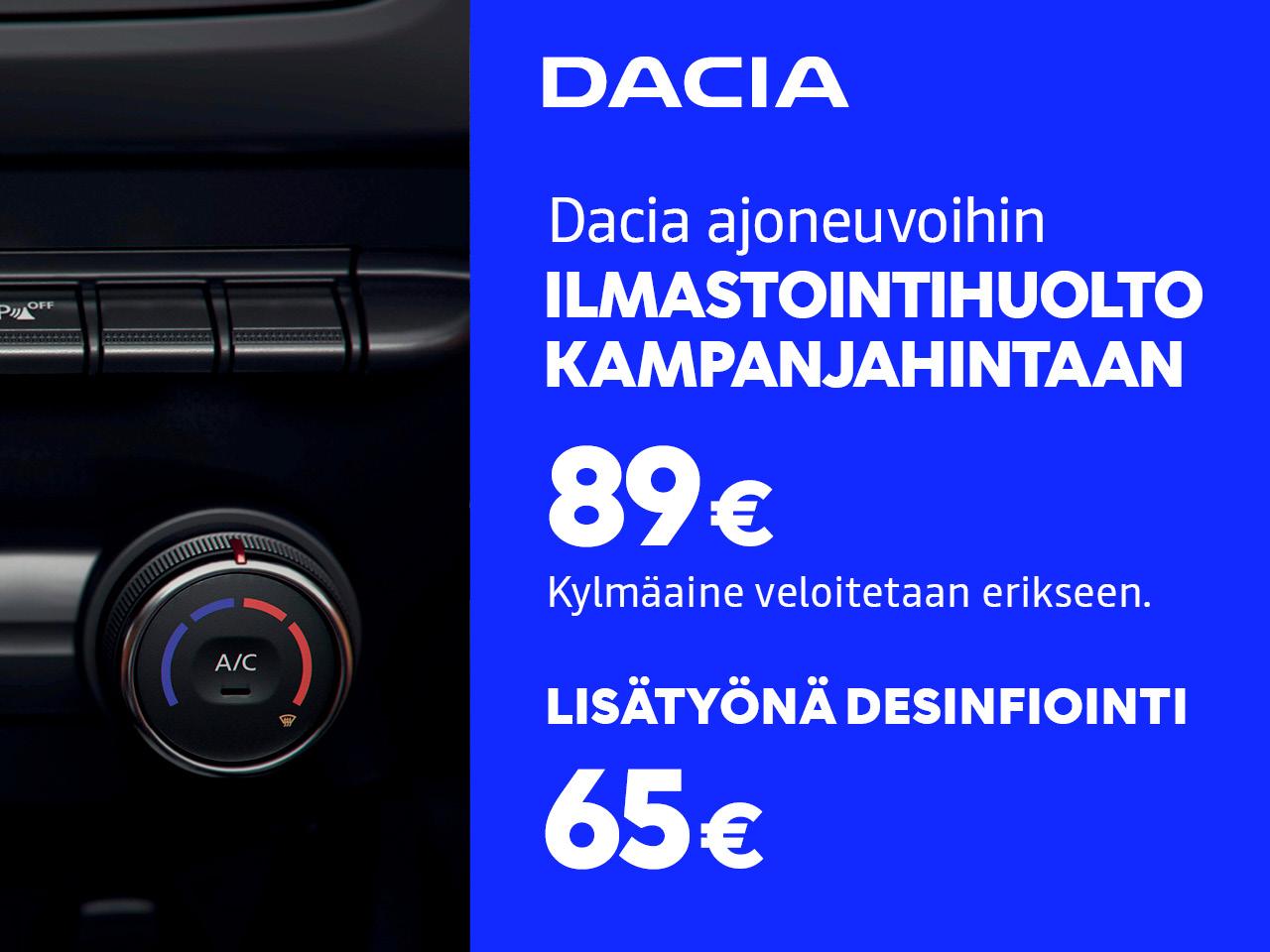 ILMASTOINTIHUOLTO 89 € DACIA-AJONEUVOIHIN